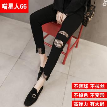 Versi Korea hitam perempuan pakaian luar celana pensil celana stoking jala kaus kaki kaus kaki (