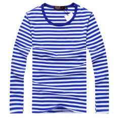 Versi Korea pria lengan panjang pria bergaris t-shirt kemeja bergaris-garis laut (Biru)