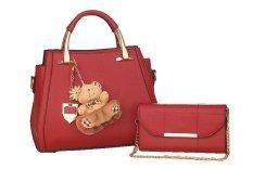 Vicria 2in1 Tas Branded Wanita - High Quality PU Leather Korean Elegant Bag Style With Bear - Maroon