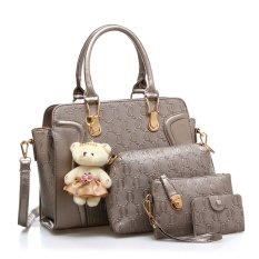Vicria 4in1 Tas Branded Wanita - High Quality PU Leather Korean Elegant Bag Style With Bear - Abu Abu
