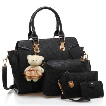 Vicria 4in1 Tas Branded Wanita - High Quality PU Leather Korean Elegant Bag Style With Bear - Hitam