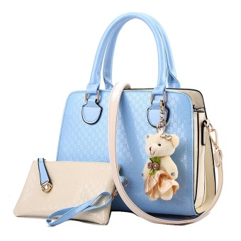 Vicria Tas Branded Wanita 2in1 - High Quality PU Leather Korean Elegant Bag Style - Biru