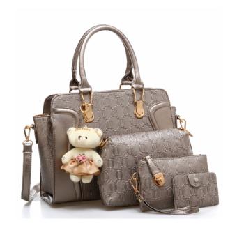 Vicria Tas Branded Wanita High Quality Korean Elegant Bag Style 4in1 - Bronze