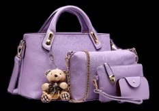 Vicria Tas Branded Wanita - High Quality Korean Style 4in1 - Ungu