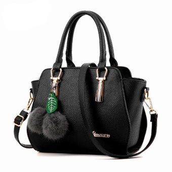 Vicria Tas Branded Wanita - High Quality PU Leather Korean Elegant Bag Style + Pompom - Hitam