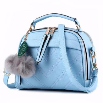 Vicria Tas Branded Wanita With Pompom - High Quality PU Leather Korean Elegant Bag Style BB2073 - Biru Muda