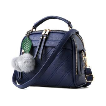 Vicria Tas Branded Wanita With Pompom - High Quality PU Leather Korean Elegant Bag Style - Biru Tua