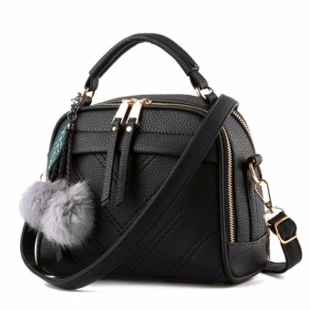 Vicria Tas Branded Wanita With Pompom - High Quality PU Leather Korean Elegant Bag Style-Black