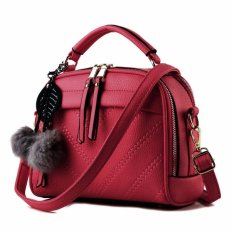 Vicria Tas Branded Wanita With Pompom - High Quality PU Leather Korean Elegant Bag Style - Merah