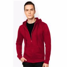 VM Jaket Korean Style Polos Basic Sleting Hoodie Fleece merah