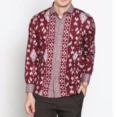 VM Kemeja Batik Maroon Slimfit Panjang Katun - Long Sleeves