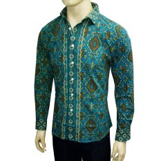 VM Kemeja Batik Modern Casual Slimfit Panjang New Kombinasi - Hijau