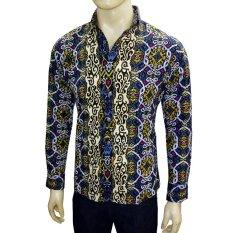 VM Kemeja Batik Modern Casual Slimfit Panjang New Kombinasi - Hitam