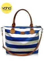 VONA Carriole (Biru Putih) - Tas Wanita Selempang Sling Bag Shoulder Handbag Kanvas Garis Strip