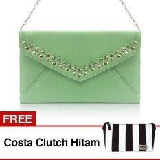 VONA Dicha (Hijau Mint) + GRATIS Costa (Hitam Putih) - Clutch Tas Wanita Pesta Silver Studded Handbag Kecil Tali Rantai Kanvas Selempang Paket Hadiah
