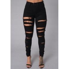 VOYAGE Ladies Stretch Pencil Pants European Slim Skinny JeansBlack A - Intl