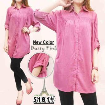 Vrichel Collection Kemeja Jumbo Polos (Pink Dusty)