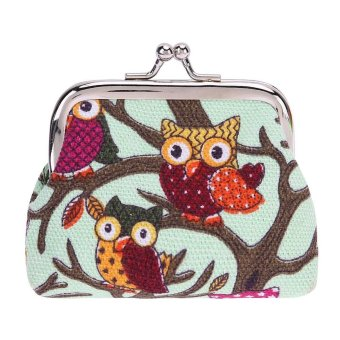 Wallet Coin Owl Canvas Change Purse Clutch Cosmetic BagCartoon(Green)-one size - intl