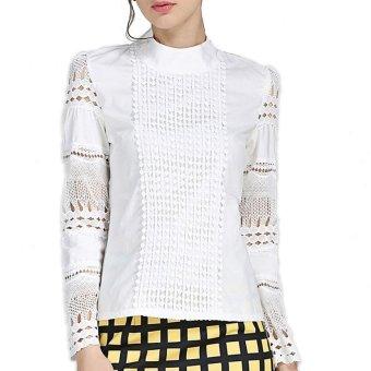 Wanita blus Ukuran Lebih S-5XL elegan musim panas 2016 lengan baju panjang putih kapas
