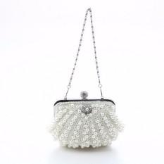 Wedding Bridal Clutch Beaded Pearl Bag Purse Handbag Apricot