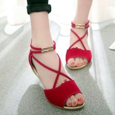 Wedges Sandal Wanita Tali Wedges - Merah