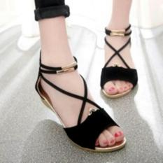 Wedges Santai Tali Silang Black Gold