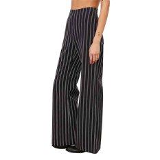 Wide-leg Pants Women Vertical Bar Hight Waist Wide-leg Pants (Black) - Intl