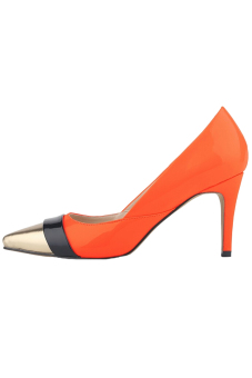 Win8Fong Women's Mid High Heels Pointed Toe Platform Pumps Stiletto Sandal Court Shoes (Orange)
