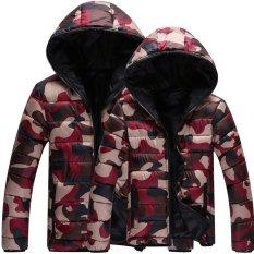 Winter Fashion Men Parkas Jacket Coat Camouflage Overcoat (Red)
