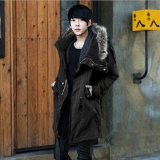 Winter Men Thermal Wadded Jacket Male Slim Thickening Cotton-Padded Clothes Jacket Outerwear (Black)