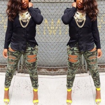 Woman Sexy Ripped Hole Washed Camouflage Skinny Jeans Pants