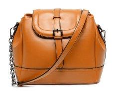 Woman's Solid Color Fashion Shoulder Handbags Bucket Satchel (Brown)