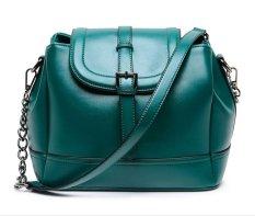 Woman's Solid Color Fashion Shoulder Handbags Bucket Satchel (Green)