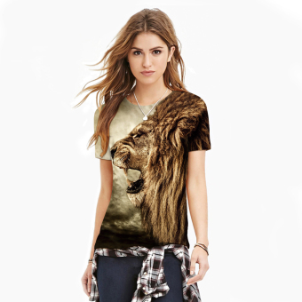 Women 3 D Printed Lion Unisex Leisure Round Neck Short SleevesT-shirt (Brown) (Intl)