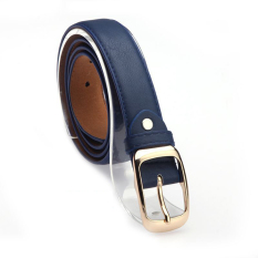 Women Belt Faux Leather Metal Buckle Straps Girls Fashion Accessories, Blue - Intl (Intl)