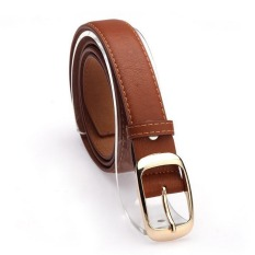 Women Belt Faux Leather Metal Buckle Straps Girls Fashion Accessories, Brown - Intl (Intl)