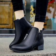 Women Boots Martin Boots Pointed Thick With Low Side Zipper England Boots (Black) - intl