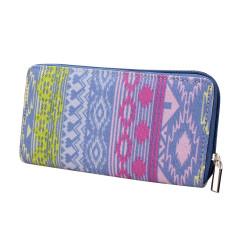 Women Canvas Purse Lady Geometric Print Long Handbag Wallet Bohemia Zip Pocket Blue