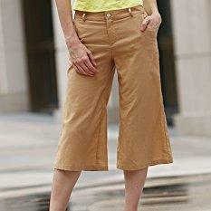 Women Capri Wide Leg Pants Drawstring Elastic Pure Color (Earthy) - Intl