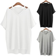 Women Casual Loose V-Neck Baggy T-shirt (Intl)