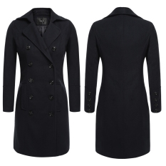 Women Casual Turn Down Collar Double Breasted Long Trench Coat