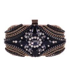 Women Chain And Diamonds Fashion Party Purses Handbag Evening Party Bag (Black)