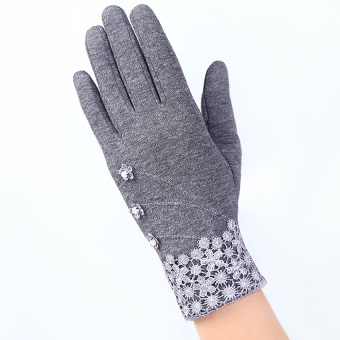 Women Click Touch Gloves Beauty Lace Flowers Sexy Winter WarmMittens (Grey) - intl