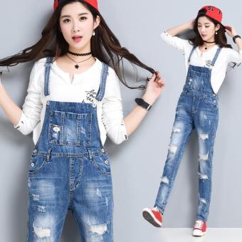 8e71e166fd20 Women Denim Jumpsuits Stretch Romper Ladies' Blue Ankle-length Pencil Jeans  - intl