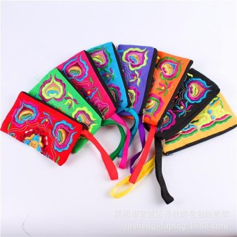 Women Ethnic Handmade Embroidered Clutch Bag Purse Wallet -Blue -intl