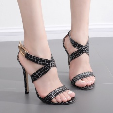 Women Europe Summer Sexy Serpentine 11 Cm High Heels Cross Vintage Gladiator Style Sandals Shoes - intl