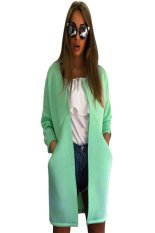 Women Fashion Casual Loose Long Sleeve Wide-waisted Pockets Solid Open Stitch Long Coat (Green)