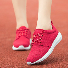 Women Flat Spring Sports Shoes Shoes Female Student Breathable Mesh Shoes Running Shoes Outdoor Casual Sneakers Red