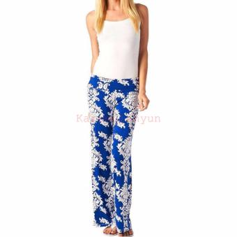 Women Floral Casual High Waist Wide Leg Long Pants Palazzo Trousers Blue - intl