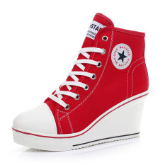 Women Girls Shoes High Top Wedge Heel Shoes Lace Up Canvas Sneakers 8CM Height